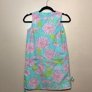 Lilly Pulitzer Sz 12 Blue Floral Shift Dress: 1453